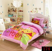 Wholesale Kids Single Bedding Sets - Pink Winnie Pooh cartoon Child Adult kids bedding set 3 pcs twin size 100% cotton duvet cover set single bed quilt cover sheet pillowcase
