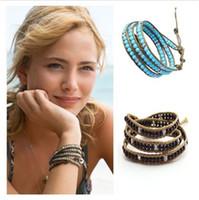 Wholesale Wrap Bracelets Jade Beads - fashion bracelets Imitation Agate turquoise opal jade amethyst three layer leather wrap bead bangle Leather cord bracelet for women jewelry