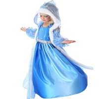Wholesale Shawls Dress 2pcs - Light Bule Christmas Girl Clothes Frozen Dress with Gauze Hat Shawl and Gloves 2pcs Special Children Dresses Hot Selling Dropship