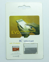 Wholesale 16gb Sd Card Free Shipping - EVO 16GB 32GB 64GB Micro SD Card Class 10 Card TF Card+SD Adapter UHS-1 SDXC SDHC Memory With Retail Package Free shipping Drop Shipping