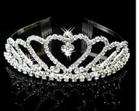 Wholesale Silver Hair Accesories - 2017 Chic Popular Wedding Crown Bridal Hair Accesories In Stock Sparkle Crystal Rhineston Wedding Hair Accessories Made In China XS