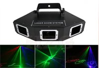 Wholesale Big Red Laser - Free shipping big angle RGB Multi color powerful three heads laser beam light with DMX voice activated