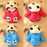 Wholesale Baby Panda Jacket - Wholesale-Warm Baby Winter Jackets Girl Boys Hoodies Fleece Animal Panda Coats Size 6-24M