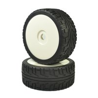 Wholesale Rc Tyres - 4PCS RC 1:8 On Road Car Buggy Rubber Tyre Tires & Plastic white Wheel Rims Street Tyres HUB HEX 17 mm Have foam inserts
