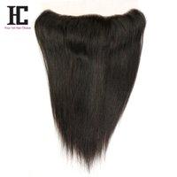 i̇sviçre danteli üst kapatma toptan satış-Brezilyalı Perulu Düz Saç Dantel Frontal Kapatma 13x4 İsviçre Dantel Kulak Kulak Remy İnsan Saç Üst Dantel Frontal Kapatma