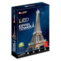 Grossiste-Cubic Fun 3D Puzzle Jouets LED Tour Eiffel (France) Modèle DIY Education Puzzle cadeau L091h