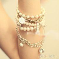 Wholesale Metal Gold Pearl - Womens Unique Jewelry Gold Metal Pearl Multilayer Pendant bracelets & bangles 06IZ