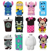 Wholesale Silicone Rubber Pouches - New 3D Cute Cartoon Cases Soft Silicone Rubber phone Case For iPhone 7 5 6 6s plus Samsung Note7 S4 S5 S6 S7