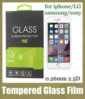 Wholesale note2 screen - 0.26mm Tempered Glass Screen Protector For s3 s6 edge iPhone 6 6 Plus 4s 4 For Samsung Galaxy note2 note3 note 4 Z1 with retail box SSC036