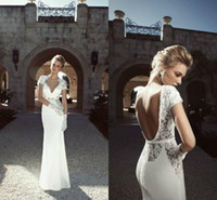 Wholesale Hot Sexy Backless Short Dresses - Zoog 2015 Sexy Wedding Dresses with Short Sleeves Backless Floor Length See Through Sheath Summer Beach Wedding Party Bridal Gowns Hot Sale