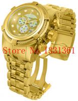 Wholesale Bolt Zeus - Wholesale-Free Shipping IN 12738 Reserve Bolt Zeus Men's Quartz Watch Gold Dial Gold S.Steel Band W R 200MT CHRONOGRAPH Original Box