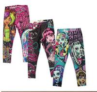 Wholesale Cartoon Leggings For Girls - Monster High Girls Leggings Zombie Girl Cartoon Kids Leggings Pants clothing monster high pants for 6~16 year