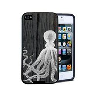 Wholesale 5c Cover Wood - Wholesale New Fashion Octopus Wood Skin Hard Plastic Mobile Phone Case Cover For Iphone 4 4S 5 5S 5C 6