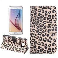 Leopard Wallet Stand Estojo de couro para Samsung Galaxy S3 S4 S5 S6 G9200 para iPhone 4 5 6 Plus Tampa do telefone móvel PU Jean Cloth Card Cash Slot