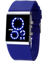 Wholesale Skmei White Silicone - Hot Sale Mirror 3 Dials Digital LED Sport Cool Silicone Wrist Watch Skmei 0984