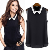 Wholesale Ladies Blouses For Spring - 2014 New Style Lady Unique Cute Chiffon Shirt Spring Summer Blouse Turn-Down Collar Sleeveless Blouses For Women