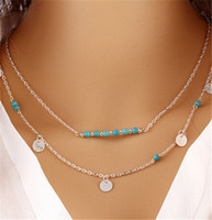 Europe Style Gold Colares de prata Plated Multi Layered Chains Turquoise Beads Sequins Colar Pingente Fine Jewelry Chirstmas Presentes K1020