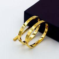 Wholesale Cross Design Gold - Luxury Classic Design Cross Love Bracelets Bangles for woman With Screwdriver Lovers Wristband Bangle Rose Gold Titanium Screw cuff Bracelet