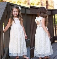 Wholesale Long Backless Cotton Dress - Ghildren princess dress girls rose lace fly sleeve long dress kids bows backless full lace dresses children party dress A7882
