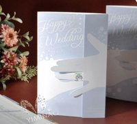 Wholesale Invitation Card Stock - In Stock Chic Light Blue Cut-out Free Personalized & Customized Printing Wedding Invitations Cards Free Shipping