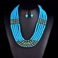 Wholesale Multi Layer Earrings - Amazing african beads jewelry set chain women Nigerian wedding crystal multi layer necklace  earring Indian jewelry sets V047