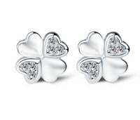 glücksringe silber 925 großhandel-925 Sterling Silber Ohrringe Modeschmuck Herzförmigen Glück Vierblättriges Kleeblatt Kristall Einfache Ohrstecker Ringe für Frauen Mädchen Hohe Qualität