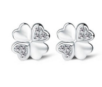 Wholesale Leaf Shaped Gold Plated Rings - 925 Sterling Silver Earrings Fashion Jewelry Heart-Shaped Lucky Four Leaf Clover Crystal Simple Stud Ear Rings for Women Girls High Quality