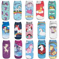 Wholesale Free 3d Golf - Women Ankle Socks unicorn Emoji Socks 3D printing Ankle socks cartoon Animal print Hip Hop Sock Female Thin Low Cut Ankle Sock free shipping
