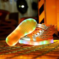 ingrosso illuminazione campo da tennis led-I bambini ha portato le scarpe 2016 nuovi capretti di modo ha condotto le scarpe da tennis luminose 100% USB di alta qualità che carica le ragazze dei ragazzi ha illuminato le scarpe sportive TR195