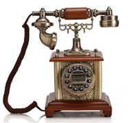 Wholesale Old Style Telephones - Wholesale-European Old Style Antique Wooden Rotary Retro Telephone for Elderly GBD-046