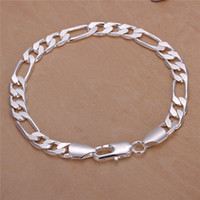 Wholesale High Quality Figaro Chain - High quality 925 sterling silver plated Figaro chain bracelet 8MMX20CM cool design fashion Men's Jewelry Free Shipping