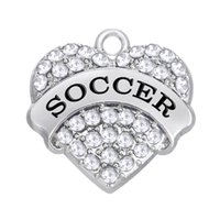 Wholesale Fitness Sliders - Metal Endearing Heart Statement Pendant Words Message Soccer Charms Colorful Rhinestone Fitness Jewelry For Men&Women