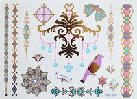 Wholesale Temporary Tattoos China - #C26 All New Colored And Gold Tattoo, Bohemian Style Waterproof Temporary Tattoo And Body Tattoo Free Shipping By China Post Air