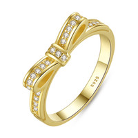 Wholesale Pandora Bow - Sparking Bow Pandora Style Rose Gold Rings with Cubic Zirconia Elegant Promise Wedding Rings for Women R034