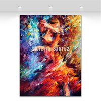 Wholesale Dancing Pictured Canvas - Flamenco Palette Knife Oil Painting Passion Dance Picture Art Printed On Canvas Mural Art For Home Office Cafe Wall Decor