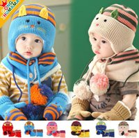 Wholesale Korean Winter Gloves - Wholesale-2015 new Korean Little Cat boys Knitted hats winter 3 pcs baby girl scarf glove hat Fur set Age for 6 months-2 Years Old