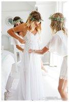 Wholesale Cheaper Summer Short - Sexy White 2017 Spaghetti Straps Chiffon Beach Wedding Dresses Hot Lovely Lace Bodice Summer Cheaper Boho Bridal Gowns Hi-Lo Backless Custo