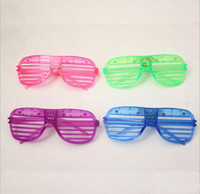 Wholesale Light Up Mask Rave - 2016 New LED Shutters Glasses Glasses Light Up Rave Toys For Halloween Masquerade Mask Dress Up Christmas Party Decoration Supplies
