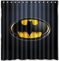 Awesome Polyester Custom Printed Shower Curtains   Custom Superhero Batman Logo  Fans Printed Size180cmx180cm Waterproof Polyester Shower
