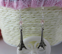 Wholesale Sterling 925 Silver Charm Tower - Fashion 925 Sterling Silver Drop Earrings Vintage Eiffel Tower Crystal Pink Beads Charms Earrings DIY Woman Jewelry 30Pair P890