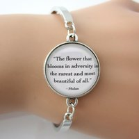 Charm Bracelets spring flower quotes - Bracelet The flower that blooms in adversity is the rarest and most beautiful of all Mulan Quote For Women Men Spirit Jewelry