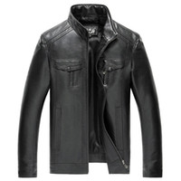 All'ingrosso- AIBIANOCEL Brand New Mens Faux Leather Giacche Alta qualità Pu Leather Nero Marrone 5XL Spring Autumn Men Leather Jaket And Coat