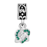 Wholesale Silver Metal Filigree - Rhodium plating Filigree Emerald crystal dangle heart love charm bead fit Pandora Chamilia Biagi bracelet