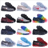 Wholesale Womens Athletic Shoes Cheap - 2018 New Running Shoes For Mens Womens Sports Shoes Cheap High Quality Outdoor Athletic VaporMax Woven Surface Sneakers Size 5.5-11