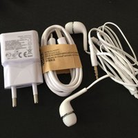 Wholesale Earphones S4 - Micro USB Mobile Phone Cables+ Genuine 1A US EU Wall Charger Head+ Mic Earphone Headphones For Samsung Galaxy S4 S3 mini HTC 3 in 1 100set