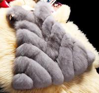 fuchspelzkragenweste groihandel-Winter Fuchspelz Runde Kragen Faux Fuchspelz Mantel Mantel Mode Frauen Luxuriöse Fuchspelz Weste Mantel Plus Größe JS