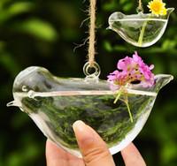 ingrosso grandi vasi di fiori-New Hanging Flower Flower Vaso Hydroponic Container Pot di forma di uccello grande Wedding Office Decor regalo di Natale FreeDHL E441L