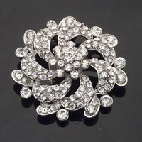 Vintage Stylish Bling Bling Flor de cristal claro Casamento Bridal Bouquet Brooch Hoot Selling Mulheres Party Gift Pins Broche Hijab pinos