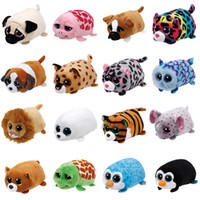 Wholesale mini mouse toys - 8cm Mini TY Beanie Boos Plush Toys Soft Stuffed Dog Penguin Cat Mouse Big Eyes Animals Dolls Screen Cleaner Toy