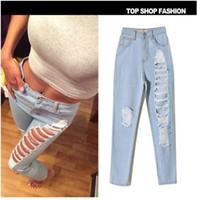 Wholesale Women Jeans Size 36 - 2016 women straight jeans hole Roll up Cross Haren cotton trousers casual wearing ripped knee Denim Pants plus size 32 34 36 38
